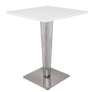 LeisureMod Glen Modern MDF White Dining Table - White/Chrome - N/A