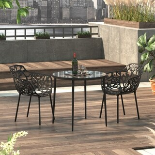 LeisureMod Devon Black Aluminum Indoor Outdoor Dining Armchair 2 Set