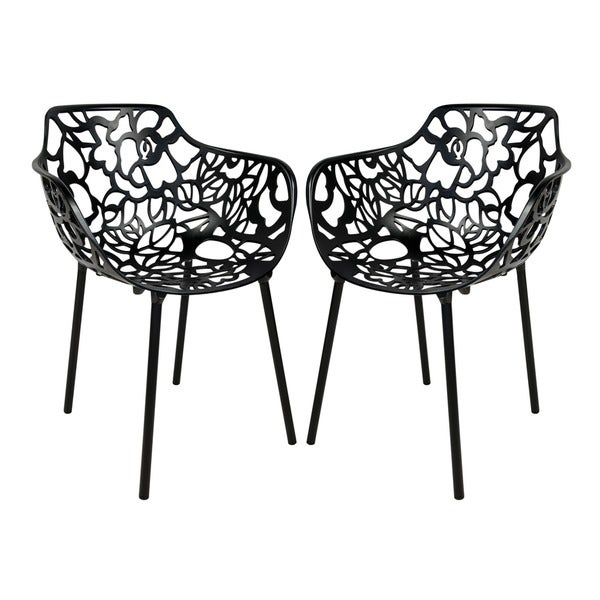 LeisureMod Devon Modern Black Aluminum Chair Outdoor Dining Set Of 2