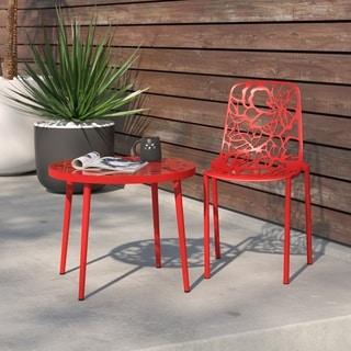LeisureMod Devon Modern Red Aluminum Armless Chair