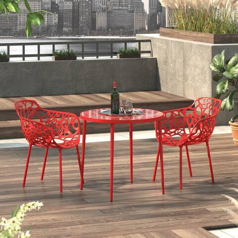LeisureMod Devon Red Aluminum Indoor Outdoor Dining Armchair 2 Set