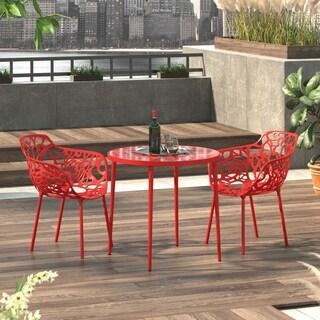 LeisureMod Devon Red Aluminum Indoor Outdoor Dining Armchair Set of 2