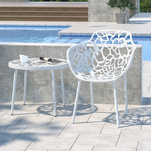 LeisureMod Devon Modern White Aluminum Outdoor Dining Armchair