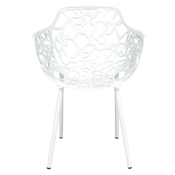 Leisuremod Devon Modern White Aluminum Outdoor Dining Armchair Overstock 9283627