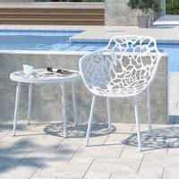 LeisureMod Devon Modern White Aluminum Outdoor Dining Armchair