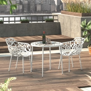 LeisureMod Devon Modern White Aluminum Chair Outdoor chair Dining chair (Set of 2)