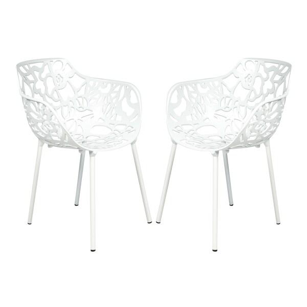 LeisureMod Devon Modern White Aluminum Chair Outdoor chair Dining chair  (Set of 2)