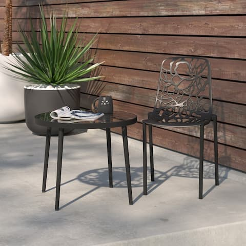 LeisureMod Devon Black Aluminum Indoor Outdoor Dining Chair
