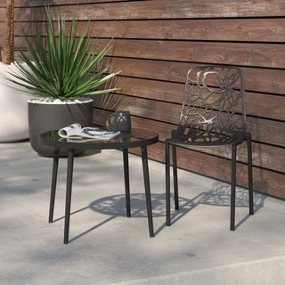 LeisureMod Devon Modern Black Aluminum Armless Chair