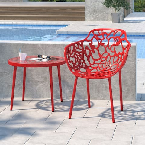 LeisureMod Devon Red Aluminum Indoor Outdoor Dining Armchair