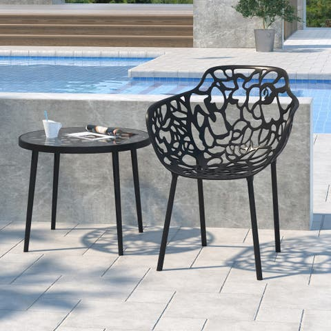LeisureMod Devon Black Aluminum Indoor/Outdoor Dining Armchair