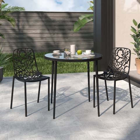 LeisureMod Devon Black Aluminum Indoor Outdoor Dining Chair Set of 2