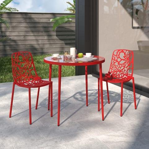 LeisureMod Devon Red Aluminum Indoor Outdoor Dining Chair Set of 2