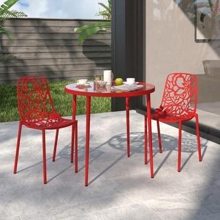 LeisureMod Devon Modern Red Aluminum Armless Chair (Set of 2)