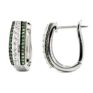 Sterling Silver Tsavorite and White Zircon Saddleback Earrings