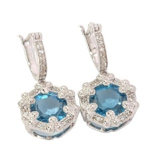 Sterling Silver London Blue Topaz and White Zircon Earrings