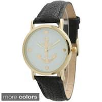 Olivia Pratt Women's Anchor Emblem Leather Strap Watch