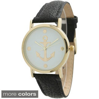 Olivia Pratt Women's Anchor Emblem Leather Strap Watch (3 options available)