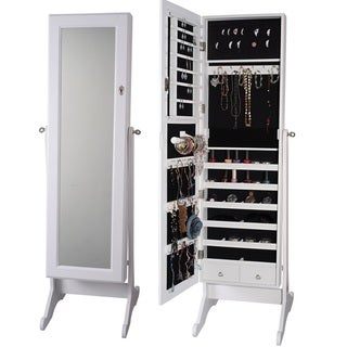 Premium White Cheval Mirror Jewelry Cabinet Armoire Box Stand Organizer Full-size Storage Case