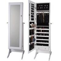 Shop Premium Cheval Mirror Jewelry Armoire Cabinet Storage Organizer ...