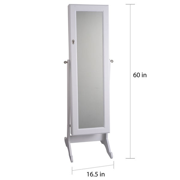 Premium White Cheval Mirror Jewelry Cabinet Armoire Box Stand Organizer  Full Size Storage Case   Free Shipping Today   Overstock.com   16446756