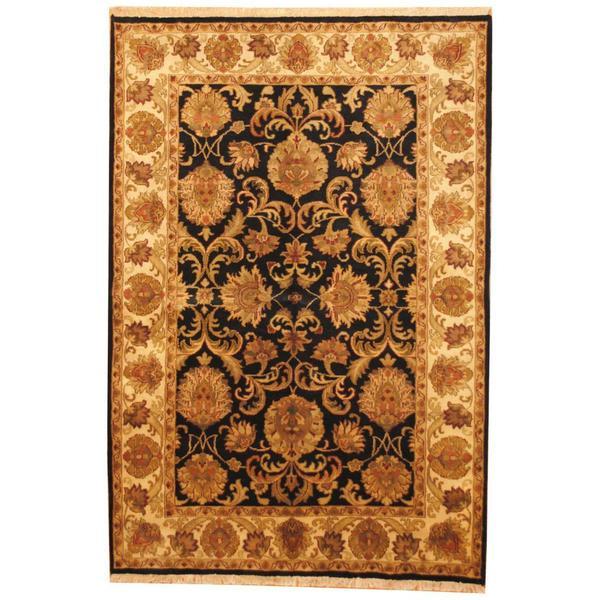 Herat Oriental Indo Hand-knotted Mahal Black/ Tan Wool Rug (6' x 9') - 6' x 9'