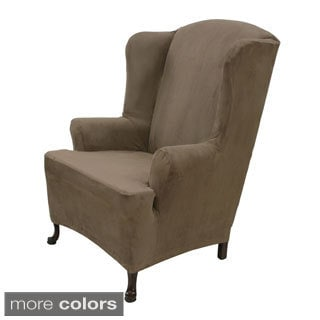 Stretch Suede Wing Chair Cover