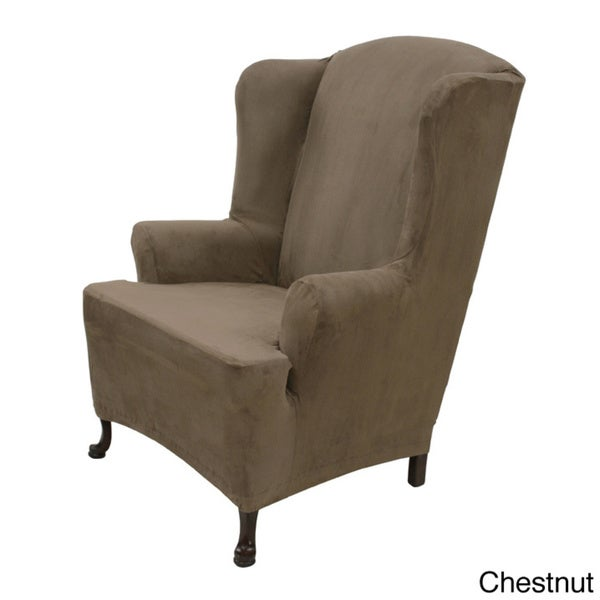 Bon Stretch Suede Wing Chair Cover