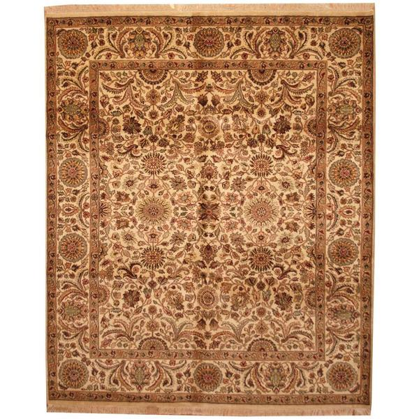 Herat Oriental Indo Hand-knotted Mahal Ivory/ Tan Wool Rug (8'2 x 10') - 8'2 x 10'