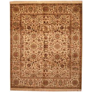 Herat Oriental Indo Hand-knotted Mahal Ivory/ Tan Wool Rug (8'2 x 10')