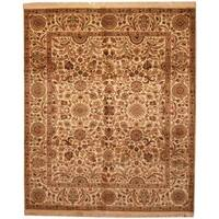 Handmade Herat Oriental Indo Mahal Ivory/ Tan Wool Rug (India) - 8'2 x 10'
