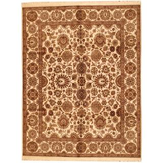 Herat Oriental Indo Hand-knotted Mahal Beige/ Brown Wool Rug (8' x 10'2)