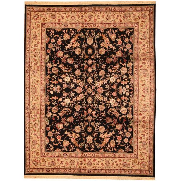 Handmade Herat Oriental Indo Tabriz Black/ Grey Wool Rug - 7'10 x 10'2 (India)