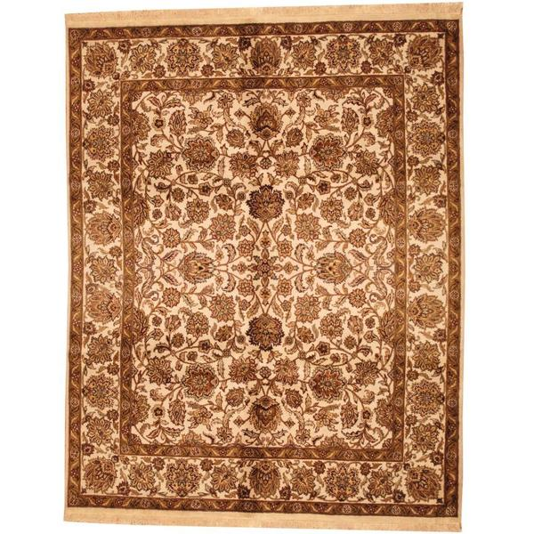 Herat Oriental Indo Hand-knotted Mahal Ivory/ Brown Wool Rug (7'10 x 9'9) - 7'10 x 9'9