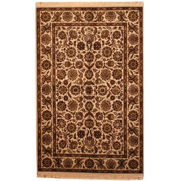 Handmade Herat Oriental Indo Mahal Beige/ Brown Wool Rug (India) - 6' x 9'