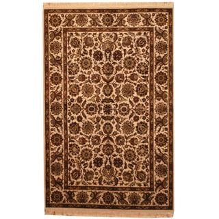 Herat Oriental Indo Hand-knotted Mahal Beige/ Brown Wool Rug (6' x 9')
