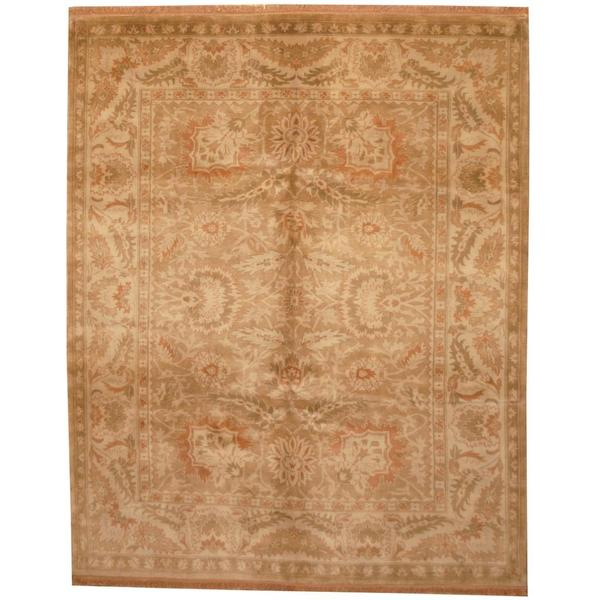 Herat Oriental Indo Hand-knotted Mahal Beige/ Green Wool Rug (7'10 x 9'2) - 7'10 x 9'2