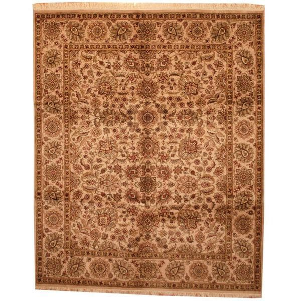 Herat Oriental Indo Hand-knotted Mahal Beige/ Rust Wool Rug - 7'8 x 9'10