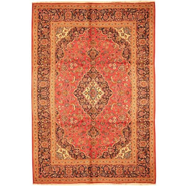 Persian Hand Knotted Kashan Silk And Wool Area Rug Ebth: Shop Herat Oriental Persian Hand-knotted Kashan Red/ Navy