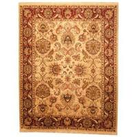 Herat Oriental Indo Hand-knotted Mahal Tan/ Maroon Wool Rug (7'10 x 10') - 7'10 x 10'