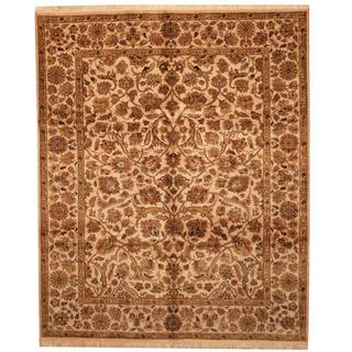 Herat Oriental Indo Hand-knotted Mahal Beige/ Green Wool Rug (8' x 9'10)