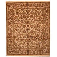 Herat Oriental Indo Hand-knotted Mahal Beige/ Green Wool Rug (8' x 9'10) - 8' x 9'10
