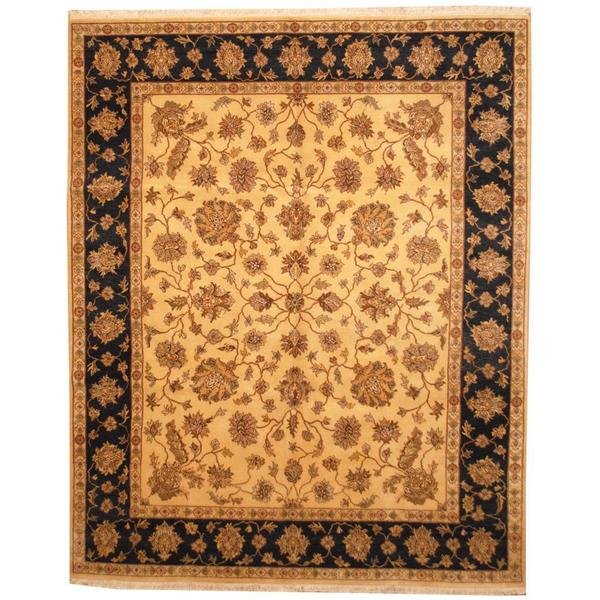 Herat Oriental Indo Hand-knotted Mahal Gold/ Black Wool Rug (7'10 x 9'10) - 7'10 x 9'10