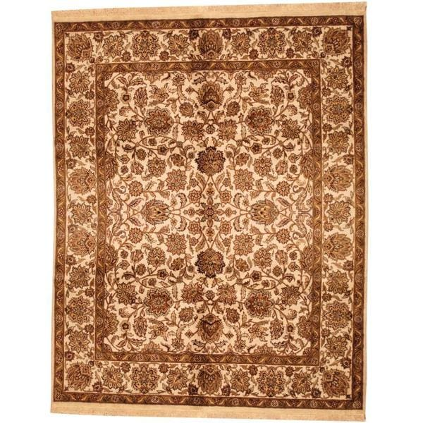 Herat Oriental Indo Hand-knotted Mahal Beige/ Brown Wool Rug (7'10 x 10'2) - 7'10 x 10'2