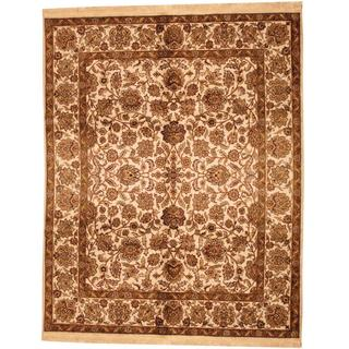 Herat Oriental Indo Hand-knotted Mahal Beige/ Brown Wool Rug (7'10 x 10'2)