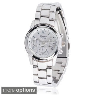 Geneva Platinum Women's Stainless Steel Chronograph Link Watch