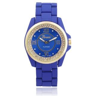 Geneva Platinum Women's Stainless Steel Rhinestone Link Watch (Option: Black)|https://ak1.ostkcdn.com/images/products/9283756/P16446847.jpg?impolicy=medium