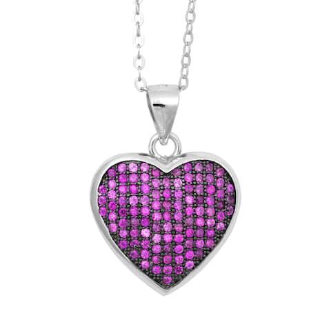 La Preciosa Sterling Silver Pink Micro Pave Cubic Zirconia Heart Pendant Necklace
