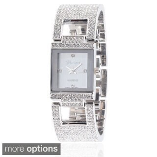 Geneva Platinum Women's Stainless Steel Rhinestone Bracelet Watch