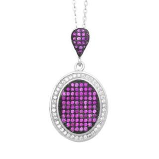 La Preciosa Sterling Silver Pink/ White Micro Pave Cubic Zirconia Oval Pendant Necklace